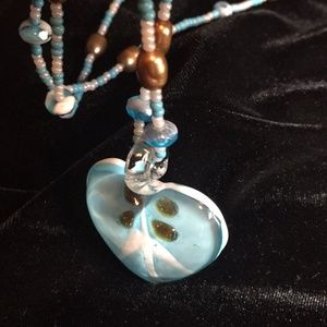 Necklace, Hand blown glass pendant w/ pearls